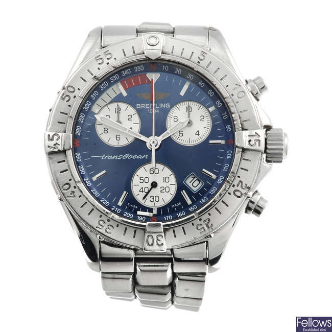 BREITLING - a gentleman's stainless steel Colt Transocean chronograph bracelet watch.