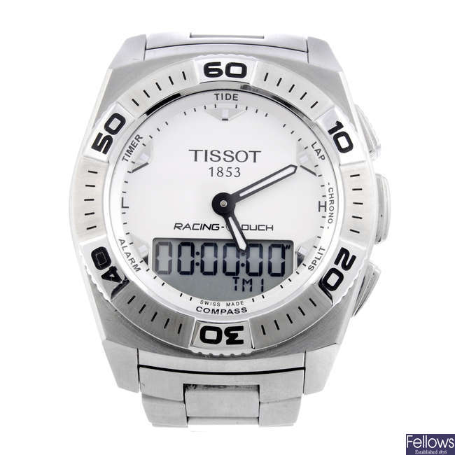 TISSOT - a gentleman's stainless steel Racing-Touch bracelet watch.