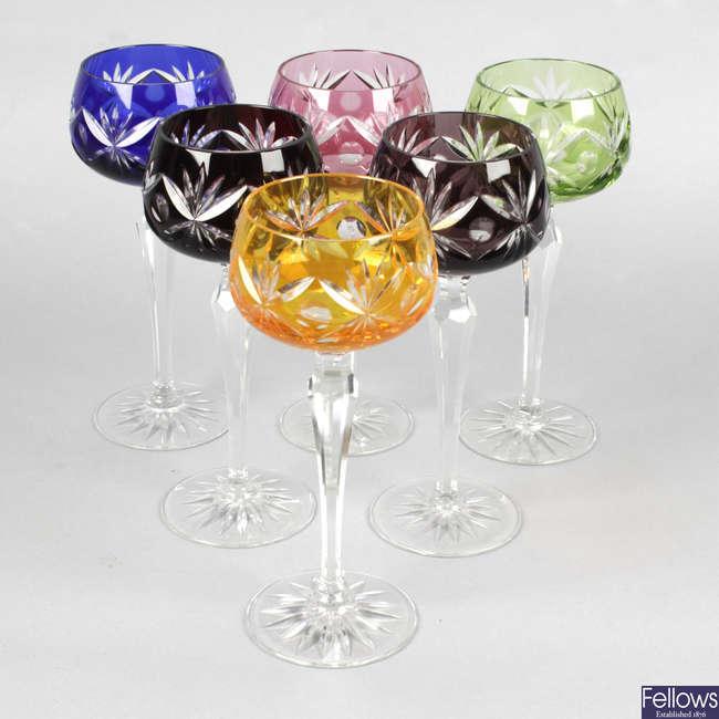 A set of six flash cut hock glasses.