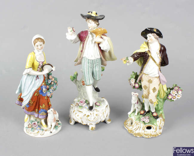 A collection of assorted decorative porcelain figures.