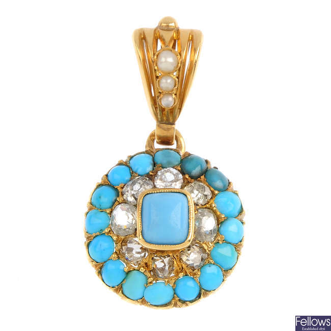 A turquoise, blue paste, diamond and split pearl pendant.