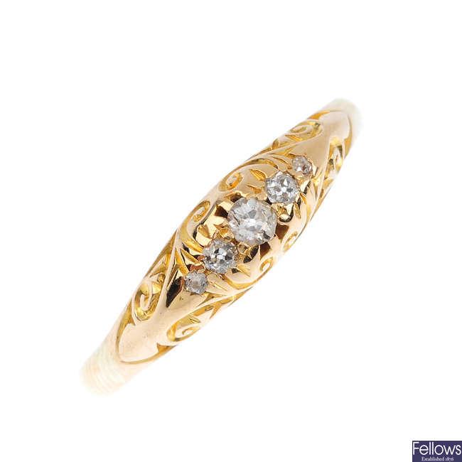 An 18ct gold diamond five-stone ring.