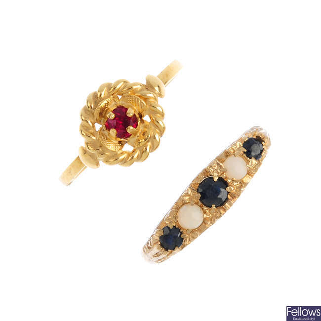 Four 9ct gold gem-set rings.