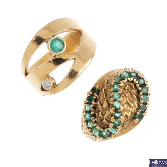 Two 9ct gold emerald rings.