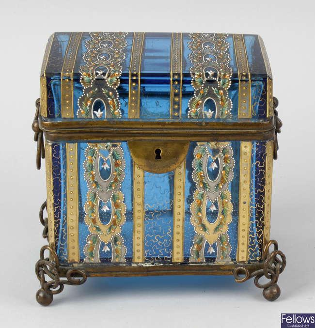 A good turquoise glass and enamel jewellery casket