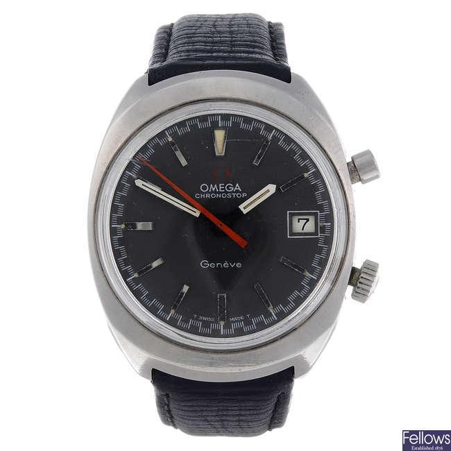 OMEGA - a gentleman's stainless steel Chronostop wrist watch.