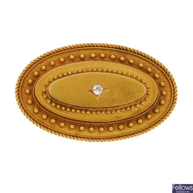 A mid Victorian 15ct gold diamond brooch.