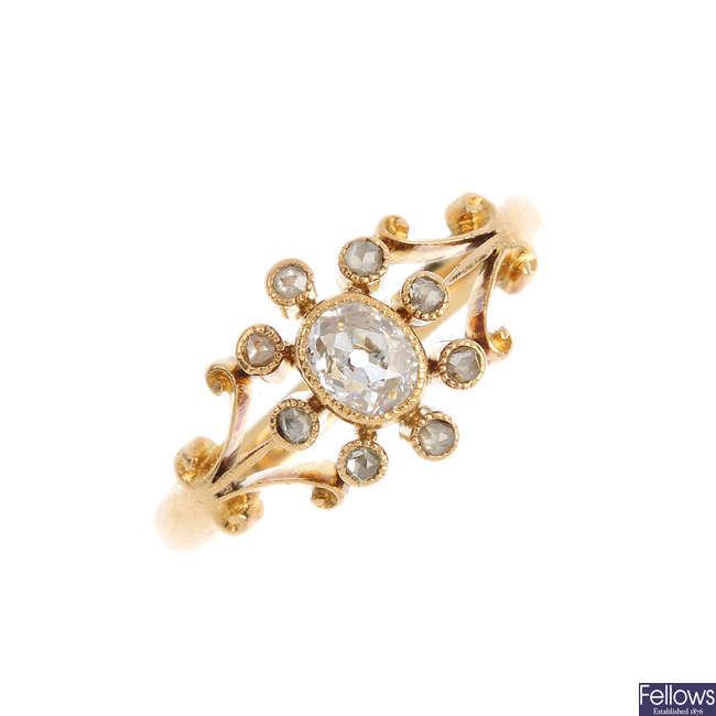An Edwardian 18ct gold diamond dress ring.