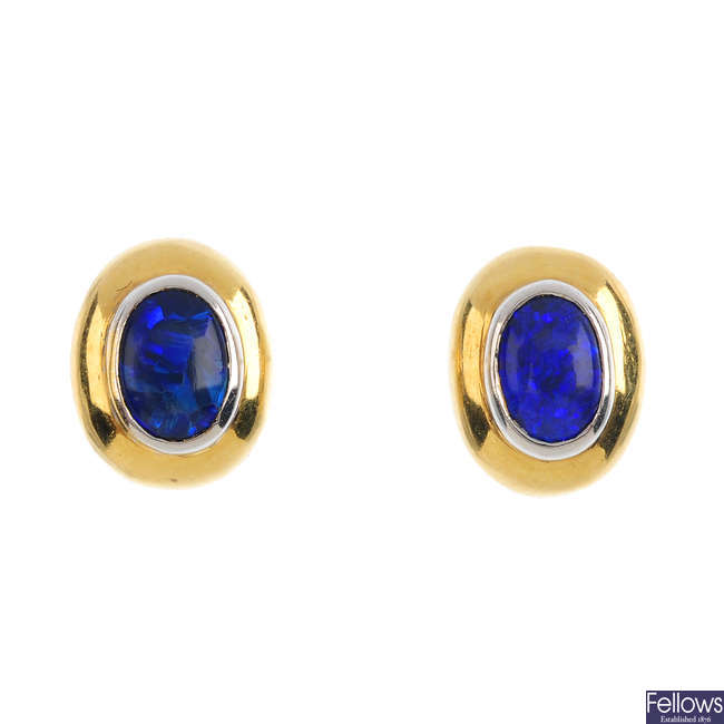 A pair of 18ct gold opal doublet earrings.