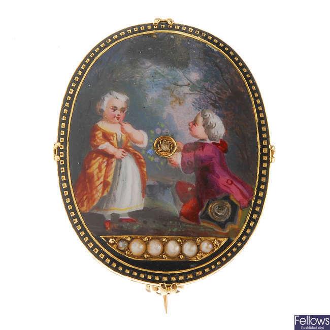 An early 19th century enamel diamond and split pearl brooch.