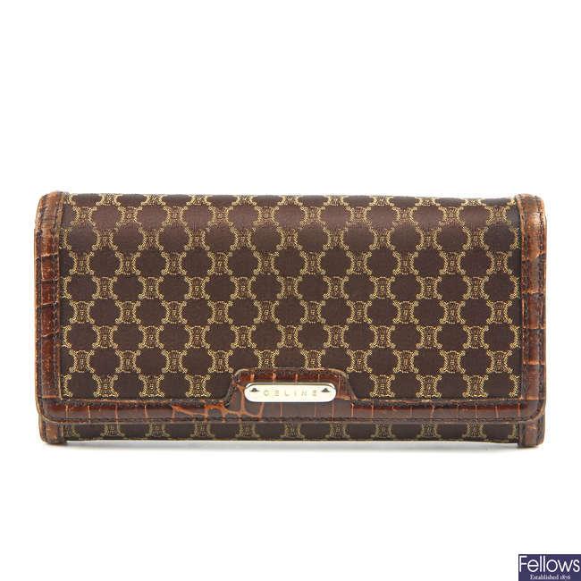 CÉLINE - a brown Macadam purse.
