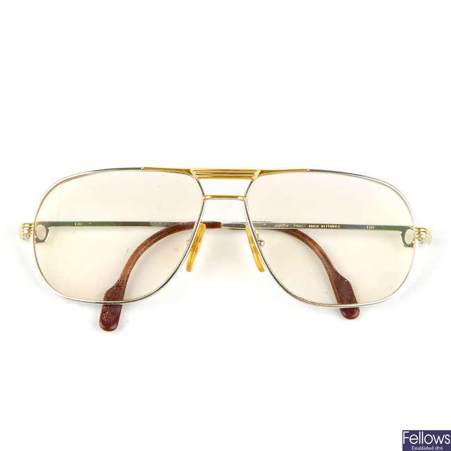 CARTIER - a pair of Tank Santos De Cartier prescription aviator glasses.
