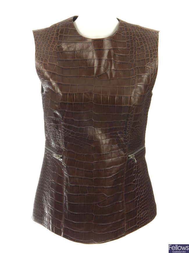 ALEXANDER WANG - an embossed leather sleeveless fitted top.