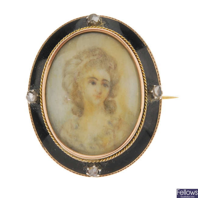 A mid Victorian enamel and diamond portrait brooch.