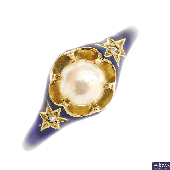A mid Victorian 18ct gold enamel, pearl and diamond ring.