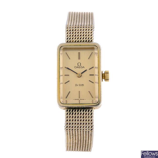 OMEGA - a lady's gold plated De Ville bracelet watch