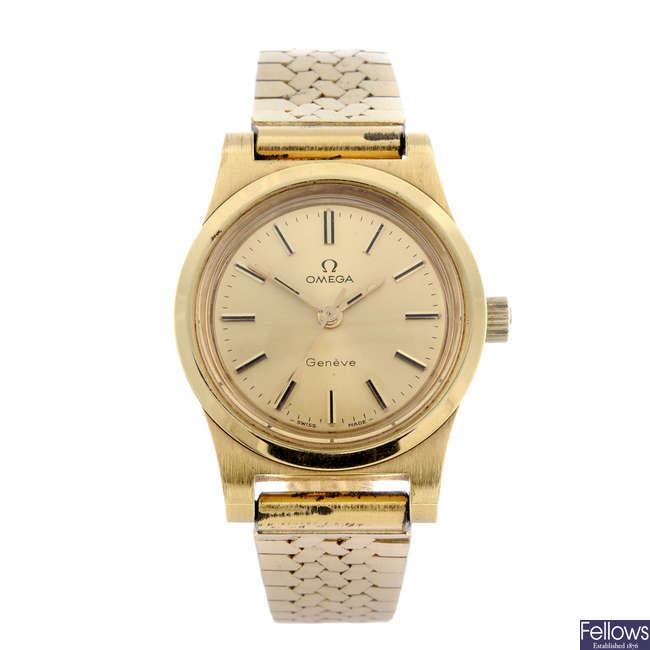 OMEGA - a lady's gold plated bracelet watch