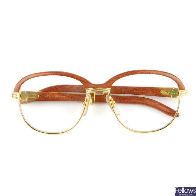 CARTIER - a pair of Malmaison Palisander Rosewood prescription glasses.