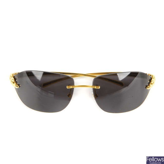 CARTIER - a pair of Panthere rimless sunglasses.