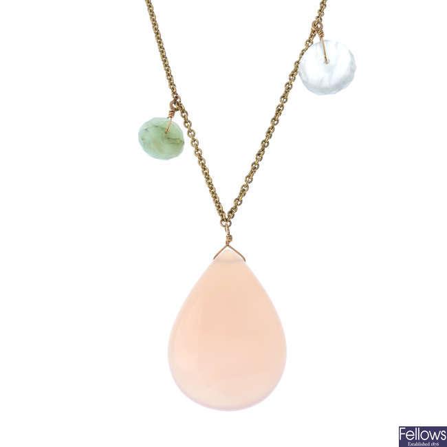 A gem-set necklace.