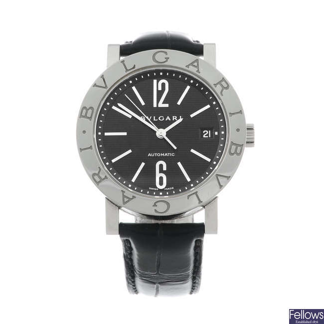 BULGARI - a gentleman's stainless steel wrist watch.