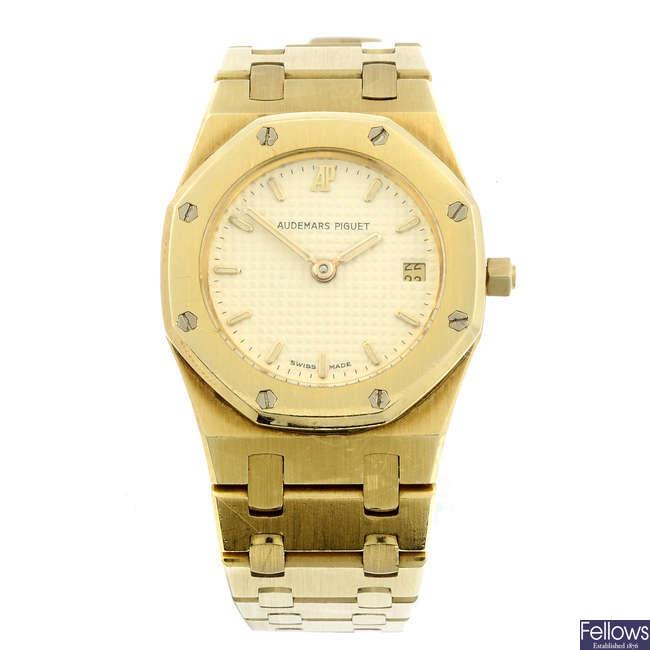 AUDEMARS PIGUET - a lady's yellow metal Royal Oak bracelet watch.