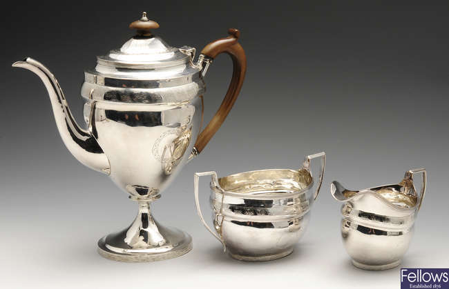 A George III silver composite part coffee service of matched style.