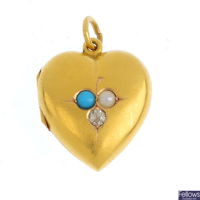 An early 20th century 15ct gold diamond and gem-set locket.