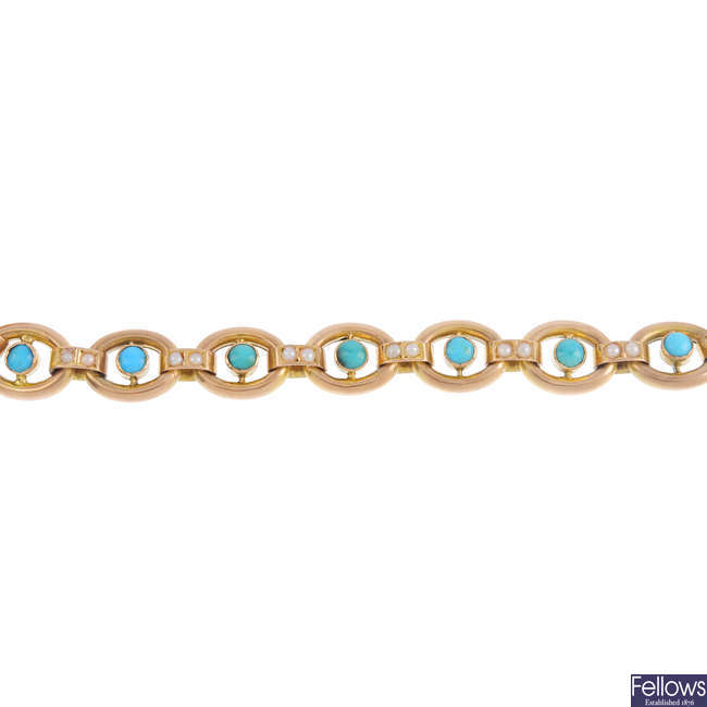 An early 20th century gold turquoise and split pearl bracelet.