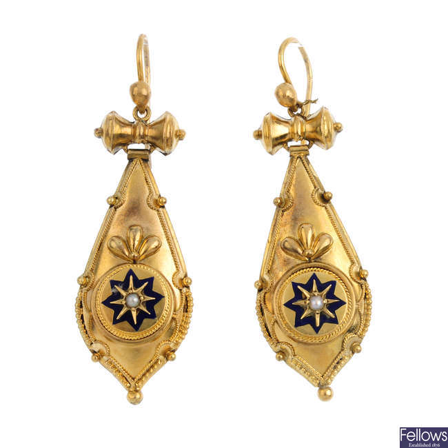 A pair of late Victorian 9ct gold seed pearl and enamel earrings.
