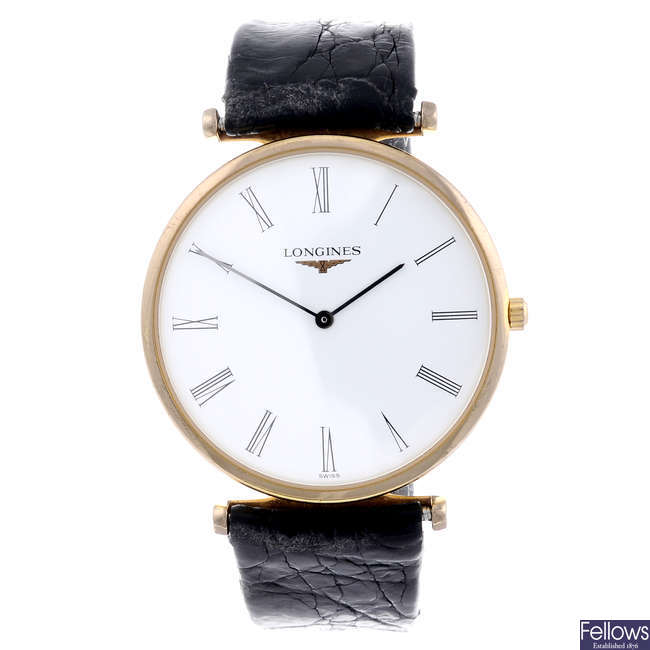 LONGINES - a gentleman's gold plated La Grande Classique wrist watch with a lady's Longines watch.