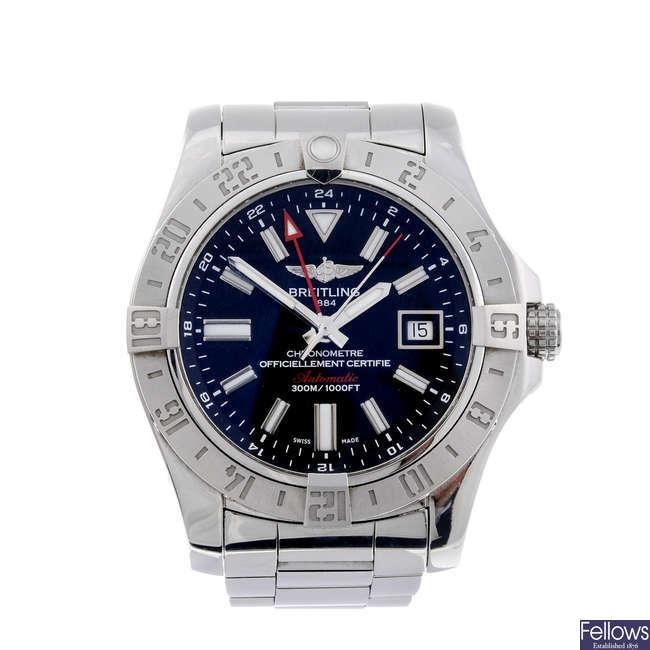 BREITLING - a gentleman's stainless steel Avenger II GMT bracelet watch.