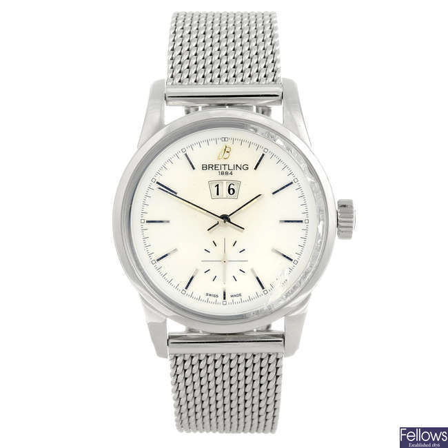BREITLING - a mid-size stainless steel Transocean 38 bracelet watch.