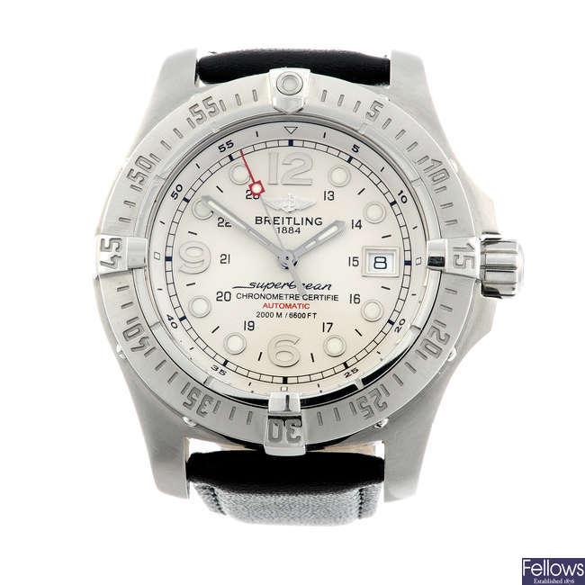 BREITLING - a gentleman's stainless steel SuperOcean Steelfish X-Plus wrist watch.
