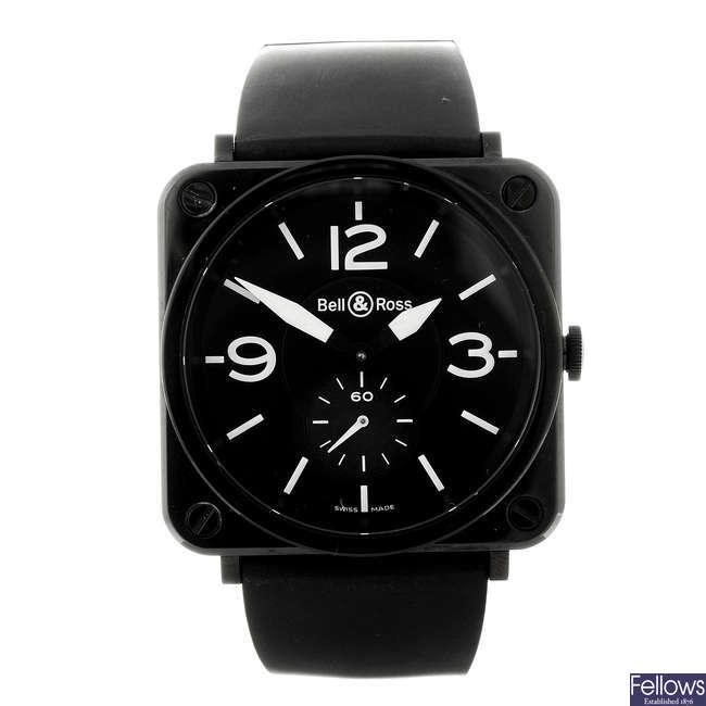 BELL & ROSS - a gentleman's ceramic Aviation 39 wrist watch.