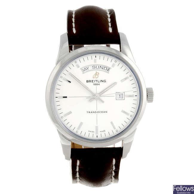 BREITLING - a gentleman's stainless steel Transocean Day & Date wrist watch.