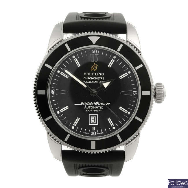 BREITLING - a gentleman's stainless steel Aeromarine SuperOcean Heritage 46 wrist watch.