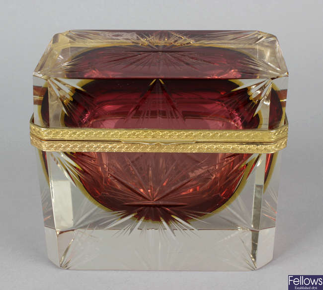 A heavy glass French Palais Royal style, casket and cover.