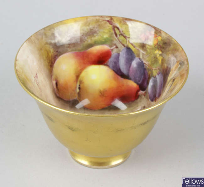 An unusual Royal Worcester porcelain fruit-painted tea bowl
