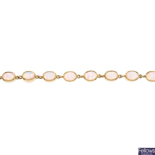 A synthetic opal bracelet.
