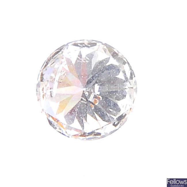 A brilliant-cut diamond, weighing 0.41ct.