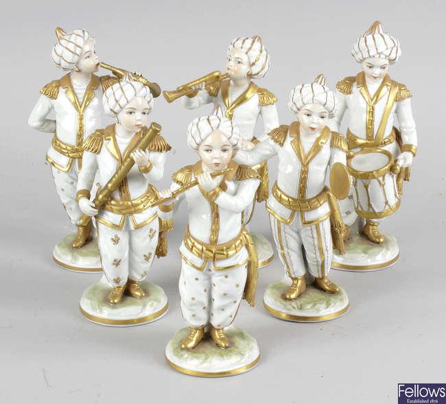 A set of six Sitzendorf porcelain Turkish band figures.