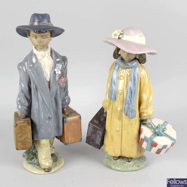 A pair of Lladro pottery figurines, two Luigi Fabris figurines and a pair of continental figurines.