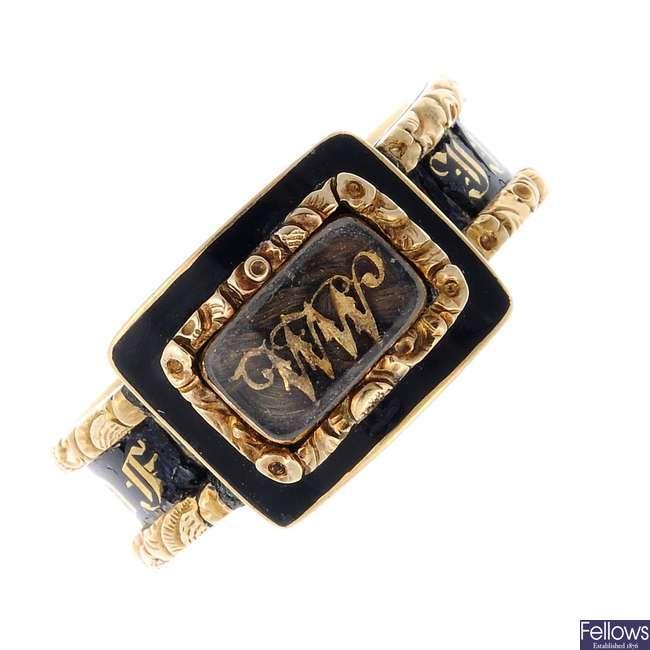 A late Georgian 18ct gold enamel memorial ring.