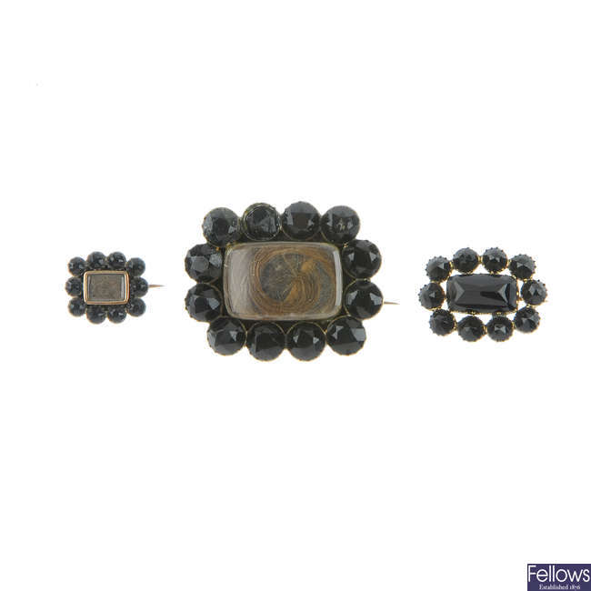 Three early 19th century memorial brooches.