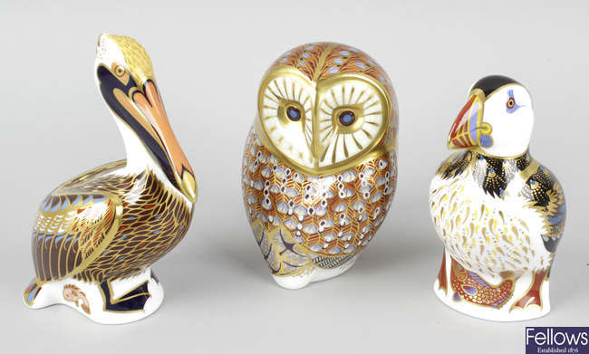 Four Royal Crown Derby porcelain birds