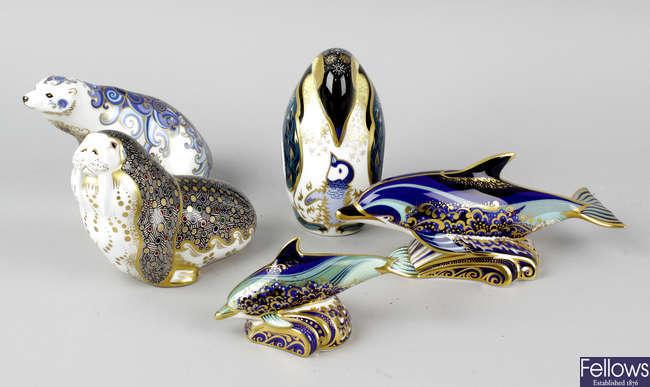Five Royal Crown Derby animal ornaments