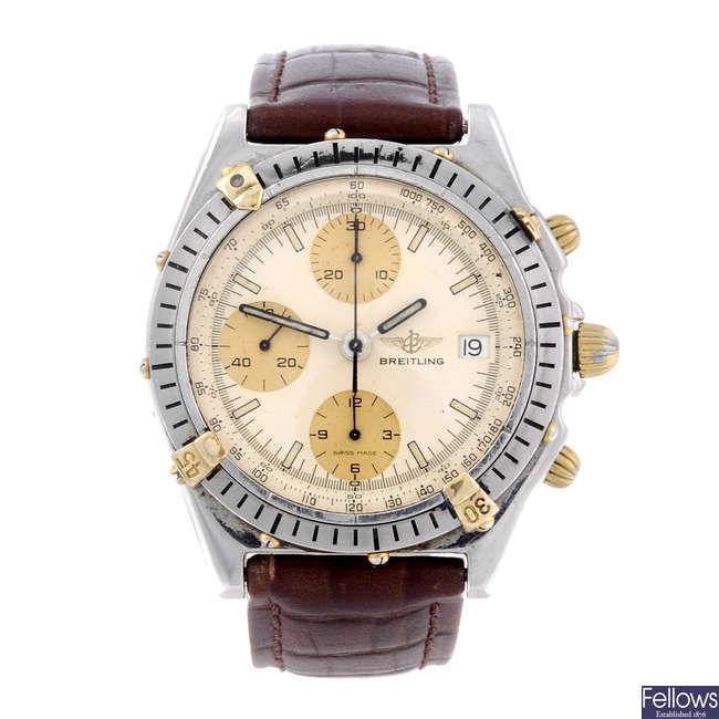 BREITLING - a gentleman's stainless steel Chronomat Blackbird chronograph wrist watch.