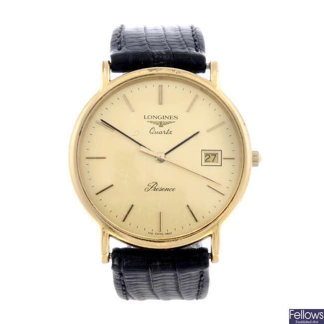 LONGINES - a gentleman's gold plated Presence wrist watch.