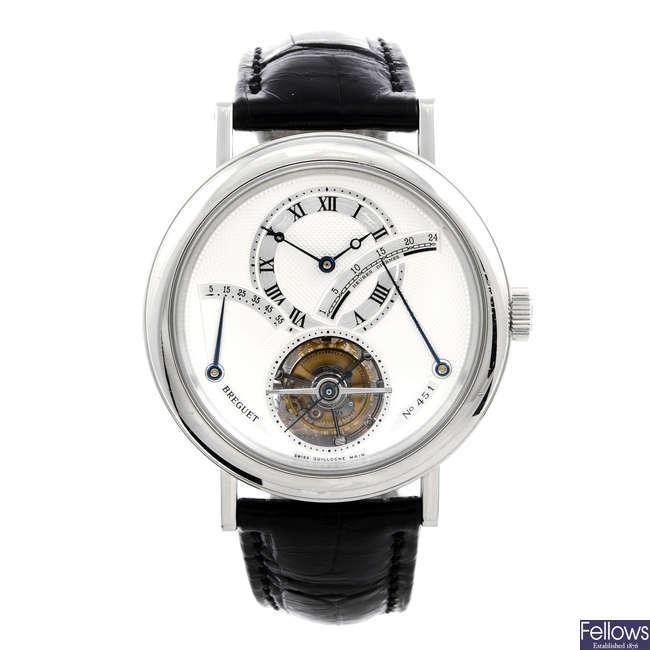 BREGUET - a gentleman's platinum Grande Complication Tourbillon wrist watch.